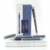 """Гелевая ручка  """"Piano Artistic Gel """": сине-серебристый рисунок-шашки, игольчатый наконечник, резинов"""