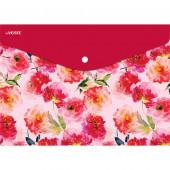 "deVENTE Папка-конверт на кнопке ""WATERCOLOR FLOWERS"" А4 (330х235мм), 150мкм, непрозрачная с рисунком"