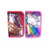 Пенал BASIR одинарный, с реверсивными пайетками серебро/разноцветные, 20*12 см. (МС-4400)