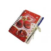 Блокнот на спирали с шариковой ручкой РОЗЫ, 80 стр, 10х14 см, с объемной картонной аппликацией