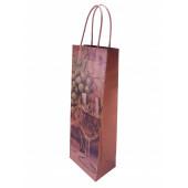 Пакет бумажный 13*36*8,5см, крафт натуральный с рисунком, для бутылки