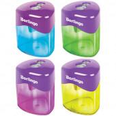 """Точилка пластиковая Berlingo """"DoubleColor"""", 2 отверстия, контейнер, ассорти BBp_15009"""