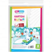 Картон белый A4, ArtSpace, 8л., немелованный, в пакете с европодвесом 264189