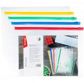 Папка-конверт на молнии Berlingo, А4, 150мкм, прозрачная, ассорти AKm_04109