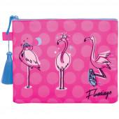 """Папка для тетрадей 1 отделение, А5, Berlingo """"Flamingo"""", текстиль, на молнии FBA5_003"""